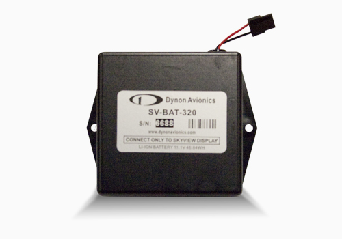 SV-BAT-320 provides at least an hour of power to a single SkyView display and all connected SkyView Network Modules, including the ADAHRS and EMS.